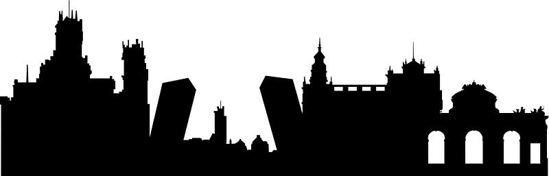 800x257 Madrid Skyline Stickers By Maximgertsen Redbubble