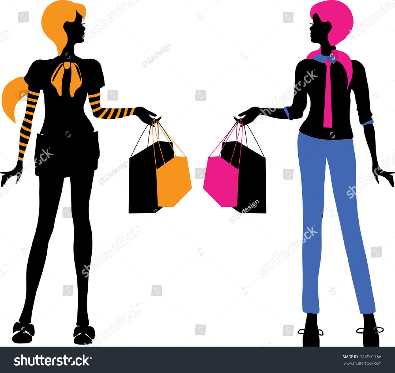1500x1413 Fashion Bright Women Shopping Silhouettes Isolated On White