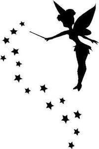 200x300 Fairy Silhouette With Stars Vinyl Decalsticker Car Truck Window