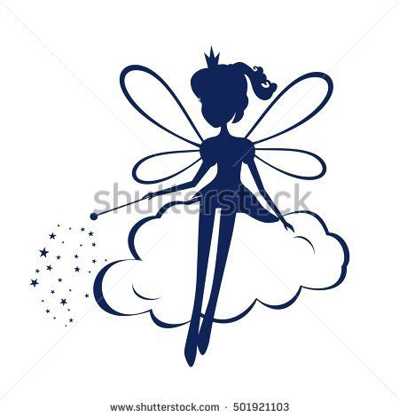 450x470 Fairy Silhouette A Magic Wand Vector Illustration. Print
