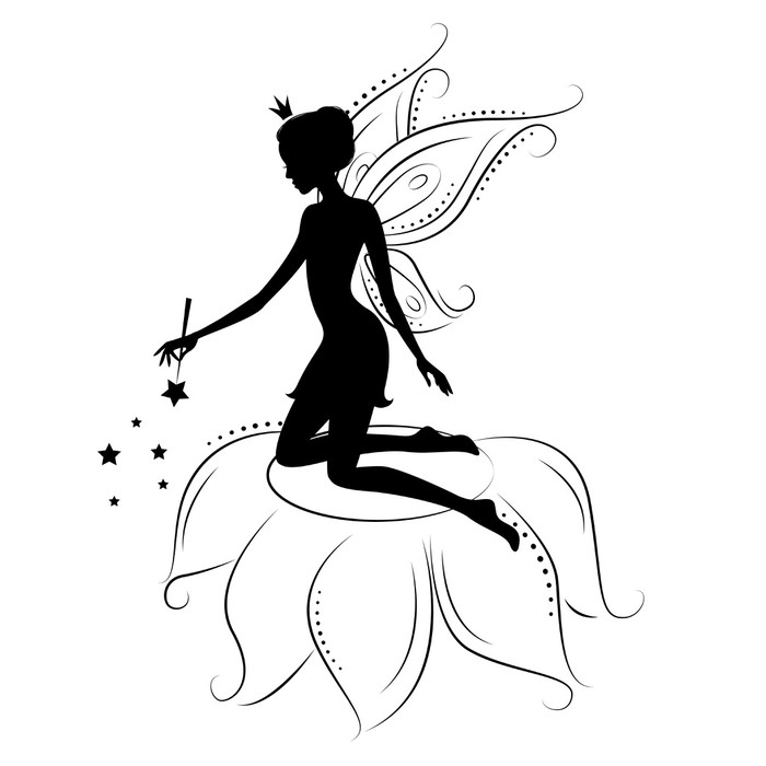 700x700 Silhouette Of A Fairy With Magic Wand. Sticker We Live