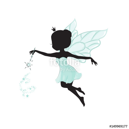 500x500 Silhouette Of Beautiful Fairy. She Has A Magic Wand In Her Hand