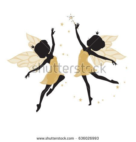 450x470 Silhouette Of Two Beautiful Fairies. Their Dresses Are Golden