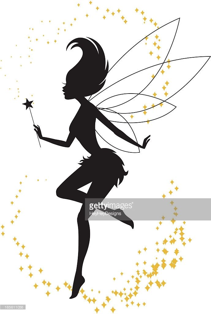689x1024 The Silhouette Of A Fairy Playing With Her Magic Wand. Kids