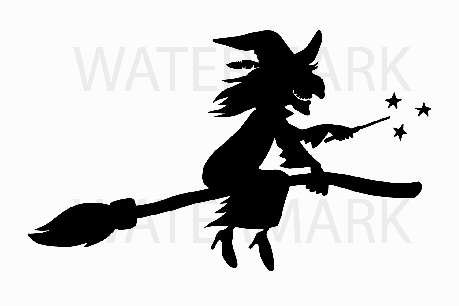 1500x1000 A Witch On A Broomstick With A Magic Wa Design Bundles