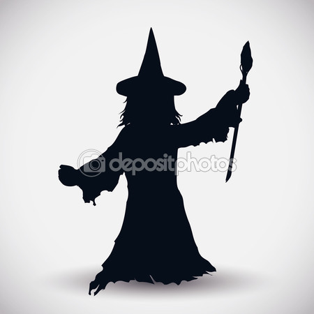450x450 Wizard Silhouette With Magic Wand, Vector Illustration Stock