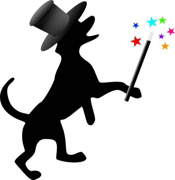 582x600 Dog Silhouette With Hat Wand Clip Art