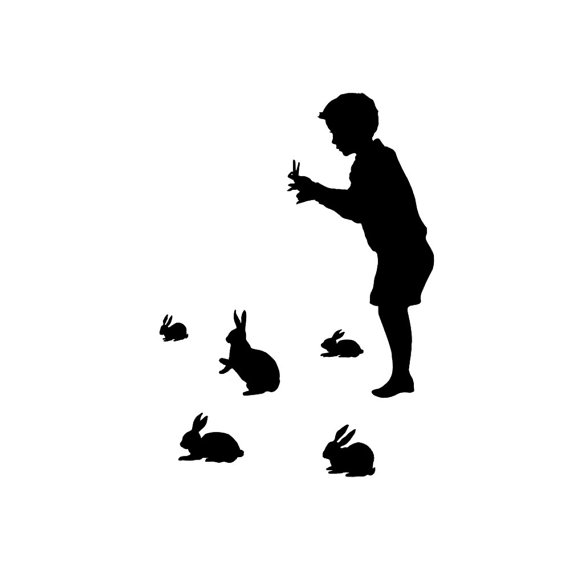 570x570 Rabbit Shadow Puppet Silhouette Print Black And White Rabbits