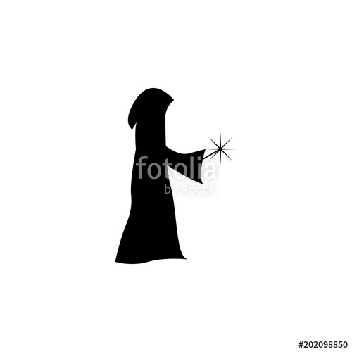 500x500 Magician Silhouette. Element Of Fairy Tale Heroes Illustration