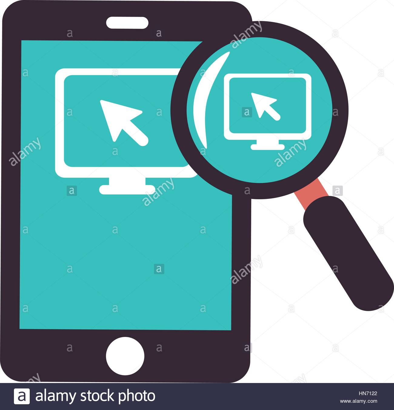 1300x1352 Color Silhouette With Tablet And Magnifying Glass Vector