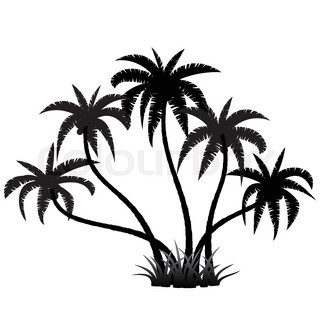 320x320 Silhouette Of Palm Trees Realistic Vector Illustration Isolated