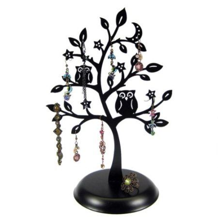 450x450 Cut Out Metal Owl Tree Jewelry Stand Earrings Holder