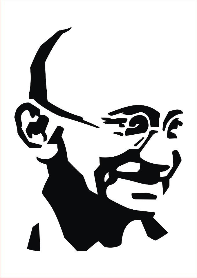 679x960 Silhouette Gandhi