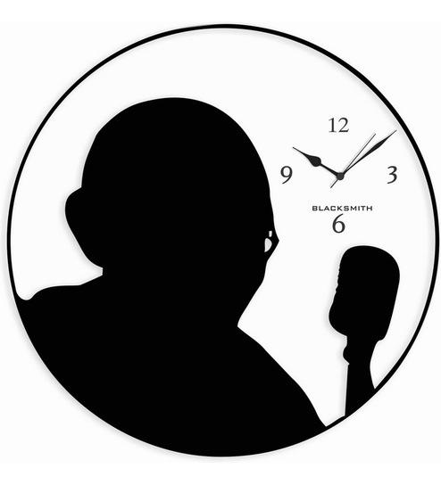 494x544 Blacksmith White Black Mahatma Gandhi Wall Clock By Blacksmith
