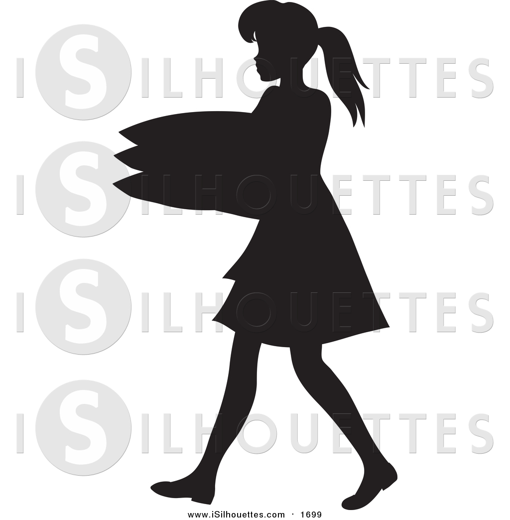 1024x1044 Clipart Of A Black Silhouetted Maid Carrying A Stack Of Pillows By