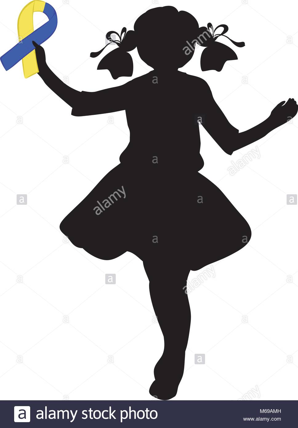 968x1390 Silhouette Girl With Yellow Blue Ribbon. World Down Syndrome Day