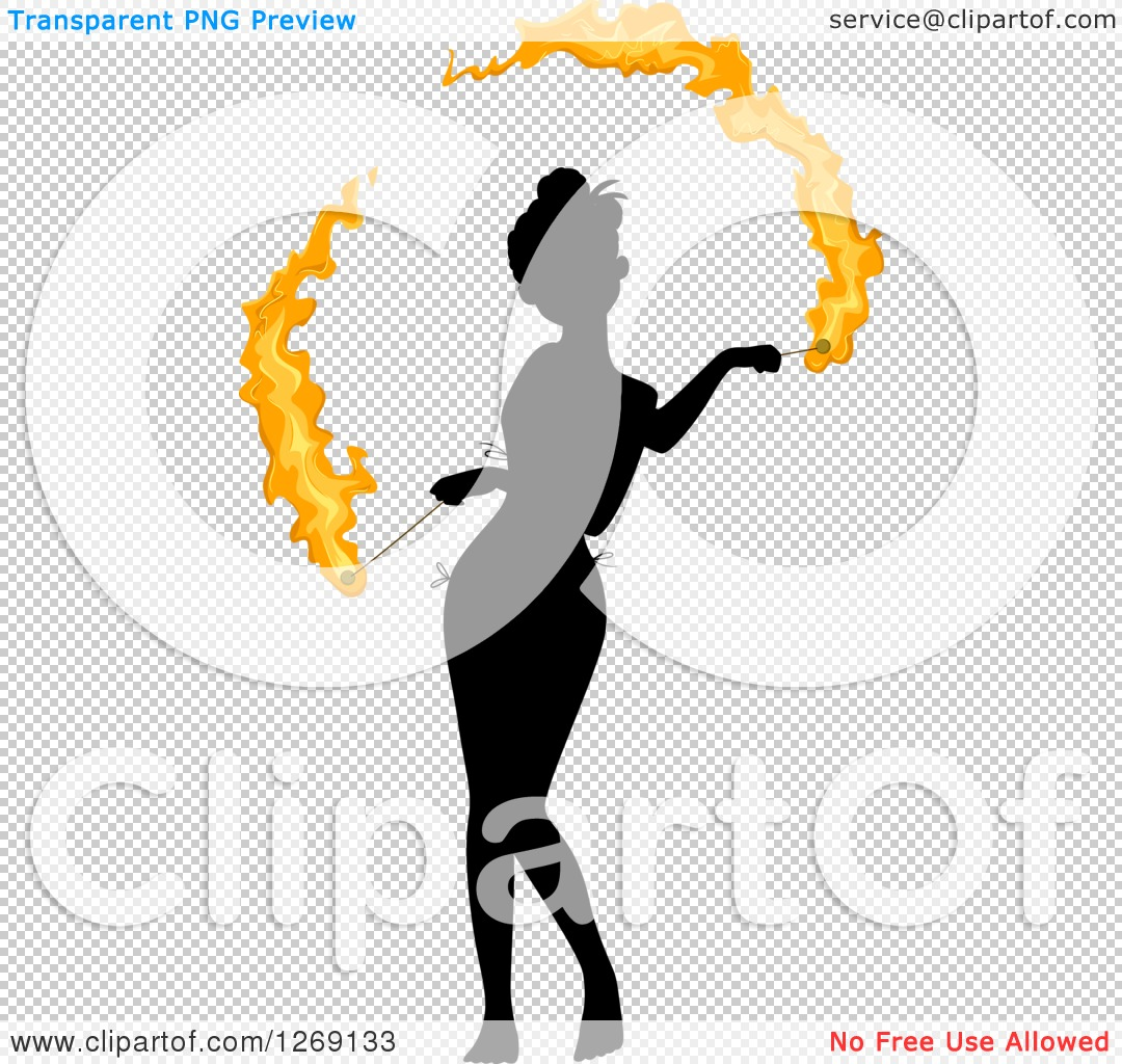 1080x1024 Clipart Of A Silhouetted Black Woman Fire Dancing With Colored
