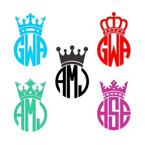 300x300 Crown King Monogram Frame Cuttable Design Cut File. Vector