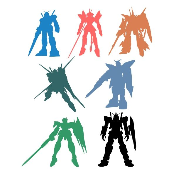 600x600 Gundam Pack Cuttable Design Cut File. Vector, Clipart, Digital