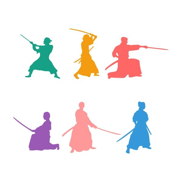 600x600 Samurai Silhouette Cuttable Design Cut File. Vector, Clipart
