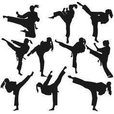 236x236 Taekwondo And Karate Silhouettes Adobe Illustrator, Silhouettes