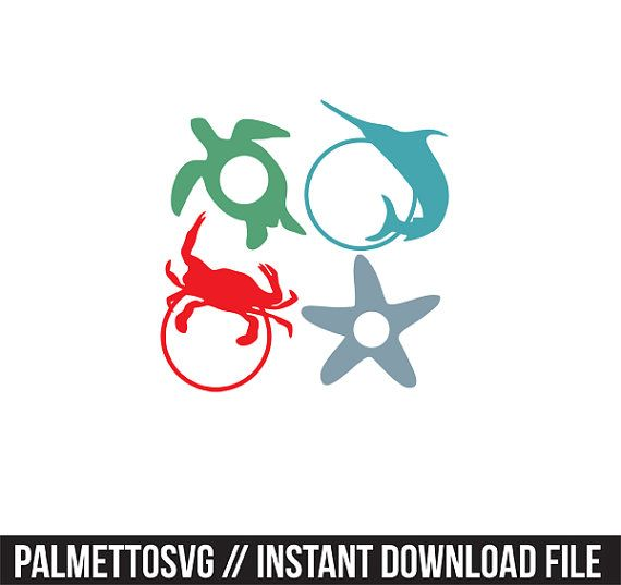 570x537 Sea Creatures Monogram Frames Svg, Cricut Cut Files, Silhouette