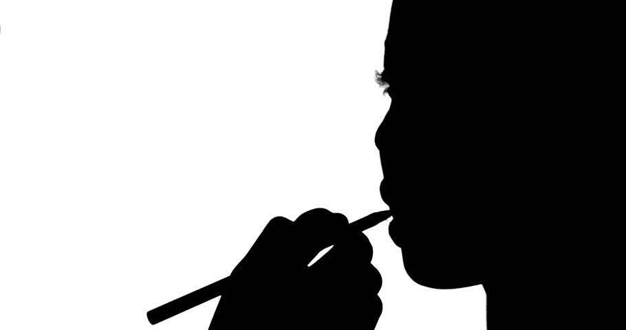 910x480 Silhouette Of Make Up Artist Working On Model On White Background