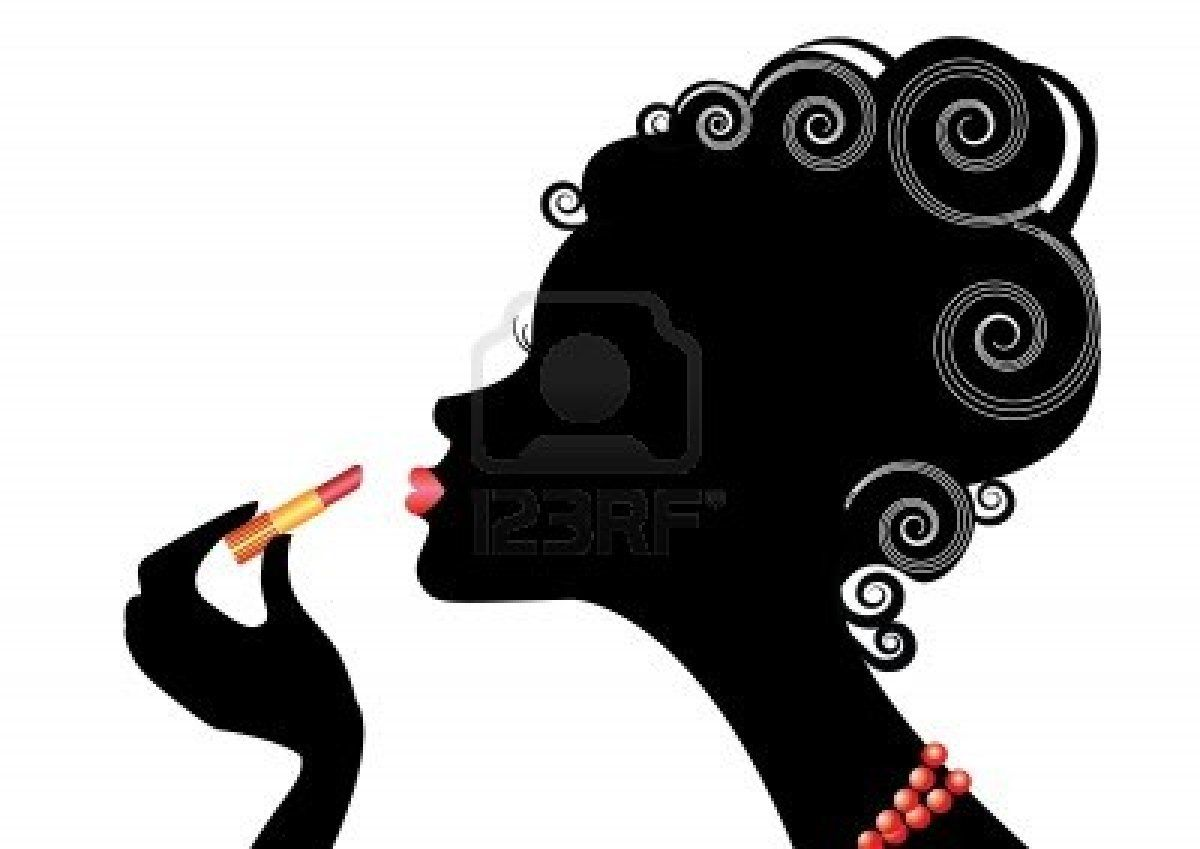 1200x849 Silhouette Of Woman And Red Lipstick.make Up Stock Photo Promo