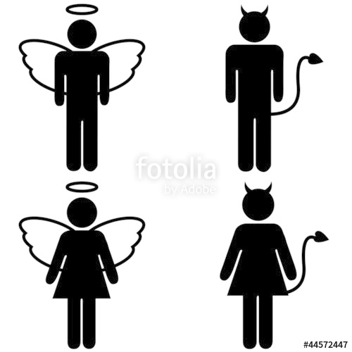500x500 Angel And Devil Pictograms Stock Photo And Royalty Free Images