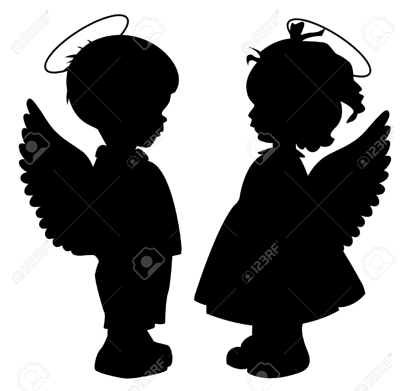 1300x1248 Two Black Angel Silhouettes Isolated On White Stock Vector
