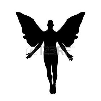 350x350 Angel Silhouette Silhouette Of A Male Angel Floating Toward