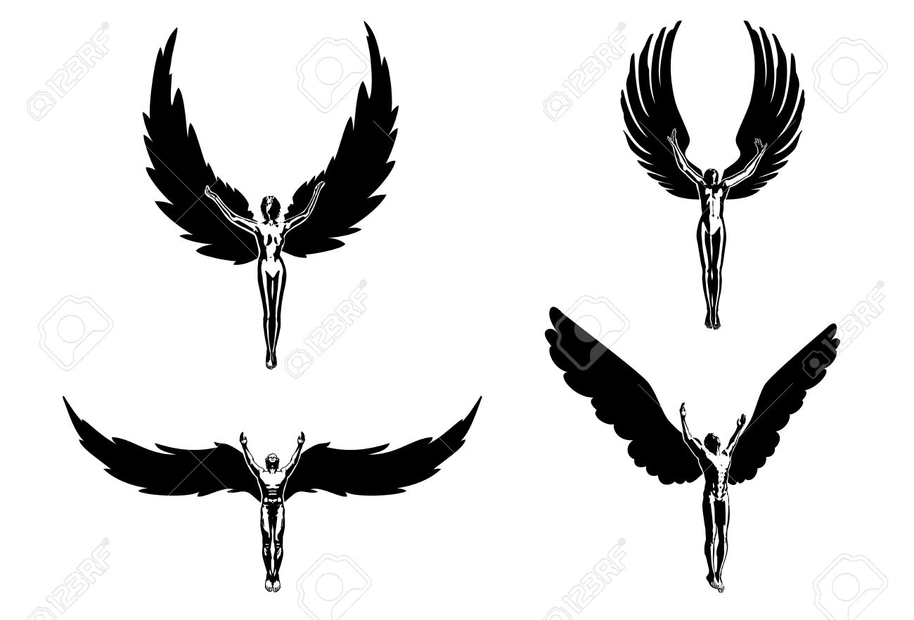 1300x882 Flying Angel Silhouette Clipart