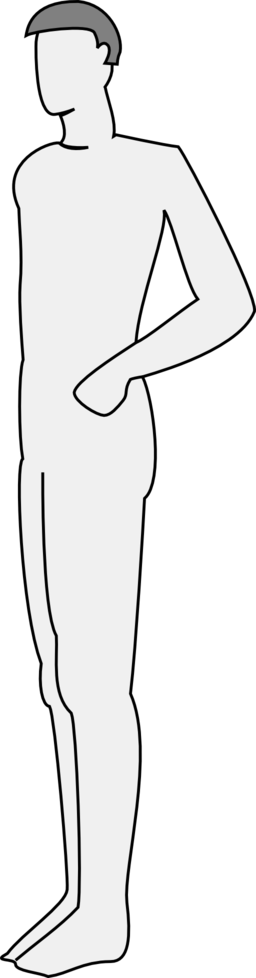 256x978 Male Body Silhouette Side Clipart I2clipart