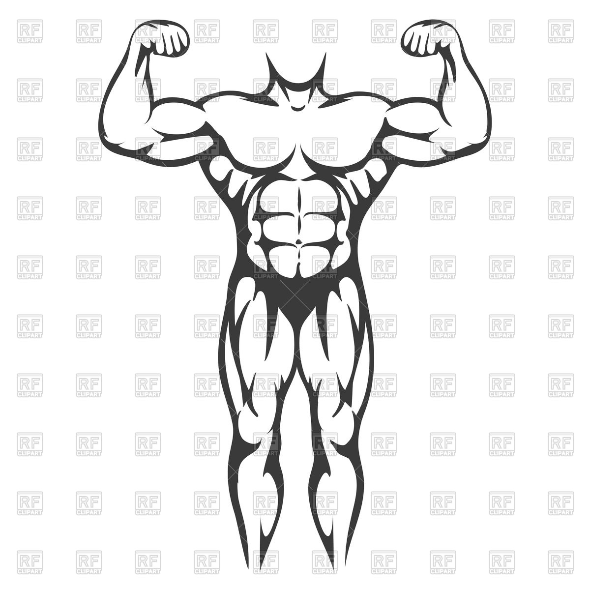 1200x1200 Male Body Muscle Black Silhouette Royalty Free Vector Clip Art