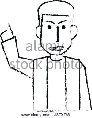 300x385 Blurred Silhouette Half Body Caricature Man With Long Beard Stock