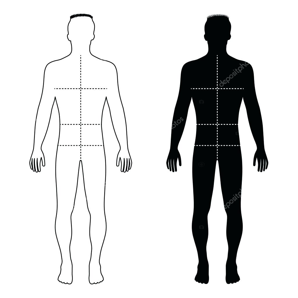 1024x1024 Template Male Body Template Fashion Man Outlined Figure