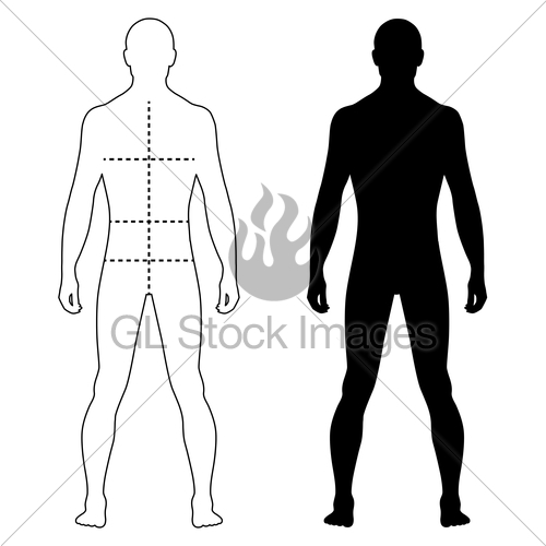 500x500 Fashion Man Outlined Template Figure Silhouette With Mark Gl