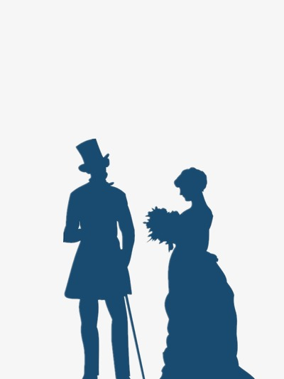 400x533 Male And Female Silhouettes Vector Romantic, Blue, Happy, Bouquet