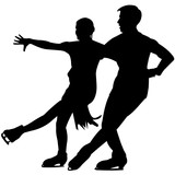 160x160 Couple Figure Skating Silhouette, Couple Figure Skating Clipart