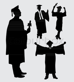 288x320 Isolated Happy Graduates Silhouette From White Background Stock