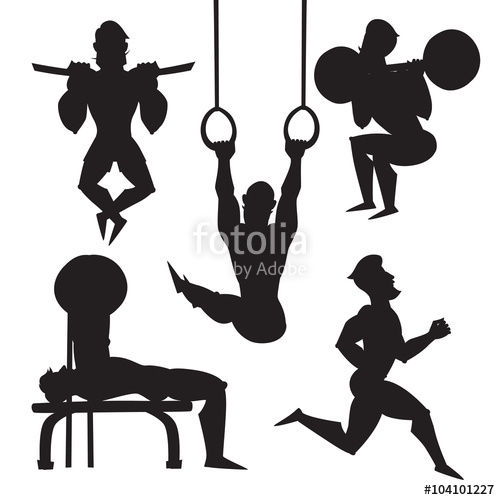 500x500 Silhouette Illustration Set Of Male Athletes Vector Sport Black