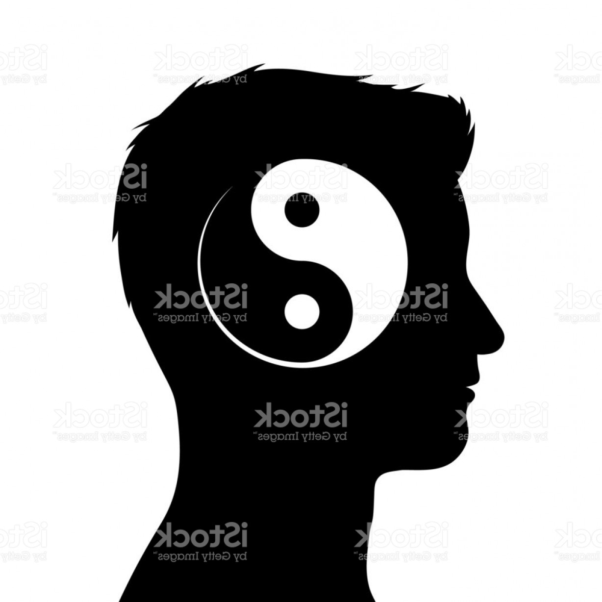 1228x1228 Silhouette Of Male Head With Yin Yang Symbol Gm Createmepink