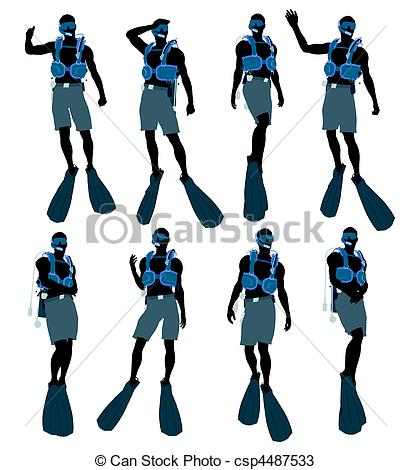 411x470 Male Scuba Diver Illustration Silhouette. Male Scuba Diver