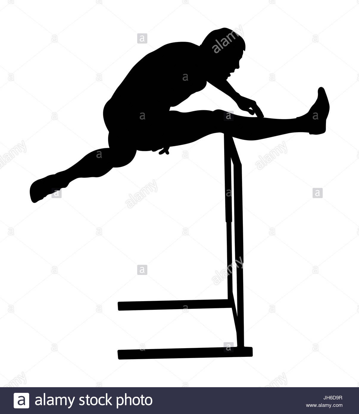 1206x1390 Crossing Hurdles Male Runner Athletics Black Silhouette Stock