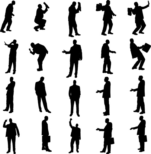 500x508 Vector Set Of Businessman Silhouettes Graphics Free Vector