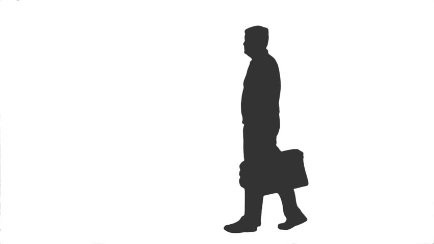 852x480 Silhouette Of A Walking Man, Side View, Full Hd Footage With Alpha