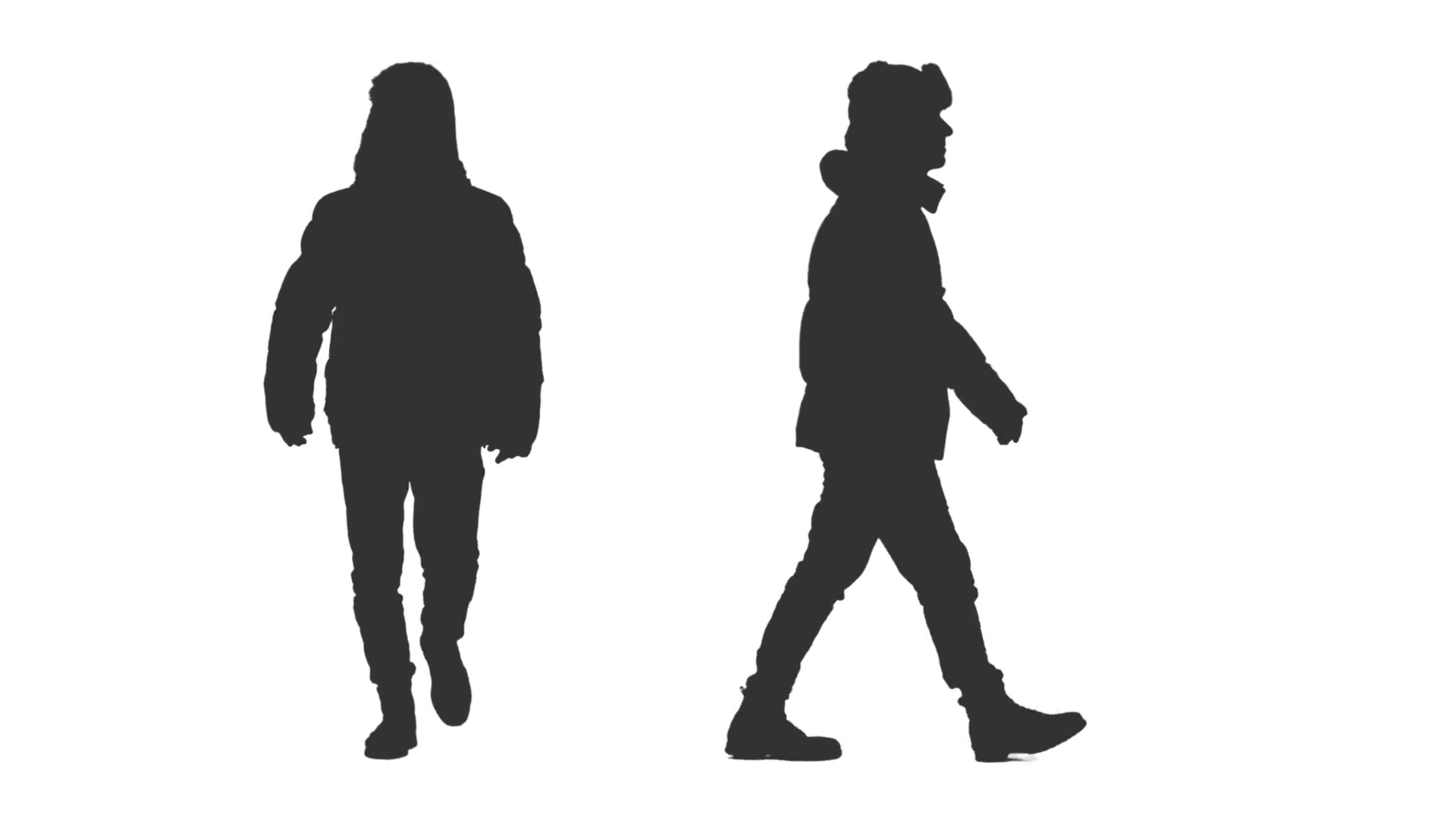 1920x1080 Male Silhouette Walking In Winter Clothes, 2 In 1, Alpha Channel