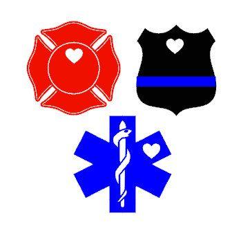 365x360 Police Badgemaltese Crossemt Caduceus Heart Vinyl Decal Police