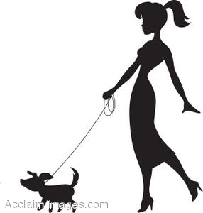 286x300 Woman Walking Dog Clipart