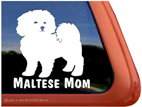 463x349 Maltese Mom ~ Cute Puppy Dog Vinyl Window Decal
